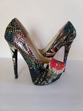 Ladies Sz 7 Stiletto Platform Shoes Multi Color Lip Print Flags Faux Snake Skin