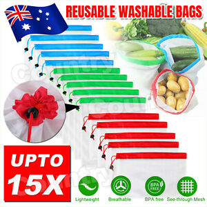 15x Reusable Produce Bags Black Rope Mesh Vegetable Fruit Toys Storage Pouch NEW