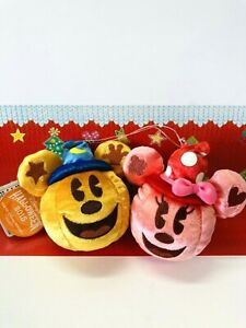 Tokyo Disney Resort Halloween pumpkin Mickey& Minnie  badge chain Plush 2015