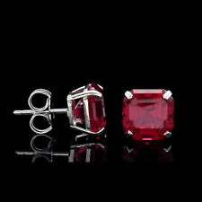 2.50CT Asscher Cut Created Red Ruby Earrings 14K White Gold Square Studs