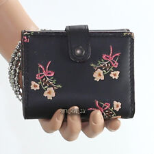 NWT Coach 1941 Floral Flower Leather Trifold Wallet 24038B Black New RARE