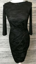 French Connection Black Bodycon Side Wrap 3/4 Sleeve Dress Size 10