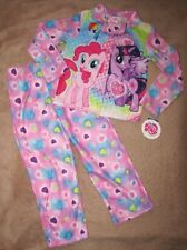 MY LITTLE PONY *Friends 4 Ever* Pink Flannel Button-Up Coat Pajamas Pjs sz 10/12