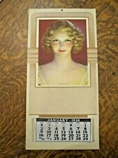 Original 1938 deco calendar-beautiful pinup-Victor Tchetchet art-Thinking of You