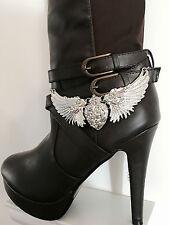 Women's Boot Bling Jewelry Bracelet Silver Rhinestone Harley Wings