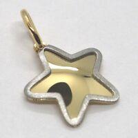 Colgante Oro Amarillo Blanco 750 18K, Estrella con el Borde Satinado