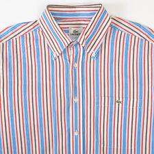 Lacoste Blue Red Brown Striped Sport Shirt Long Sleeve Mens 40 Medium M