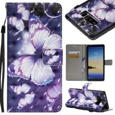 purple butterfly 3D wallet Leather case skin strap fr iphone X Samsung Note 8 LG
