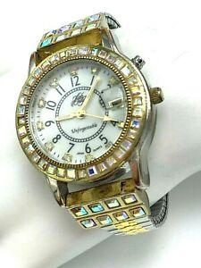Kirks Folly Unforgettable Wrist Watch Two Tone Stretch Band Aurora Crystals