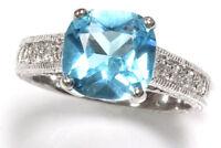 1.6 ctw Natural Blue Topaz & Diamond Solid 14k White Gold Milgrain Cocktail Ring