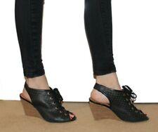 Clarks Ladies Black Wedge shoes 5.5 D Peep Toe Leather Bootie Spring 39 UK 5 1/2