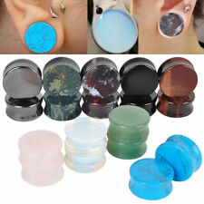 PAIR Organic Stone Ear Flesh Tunnel Plugs Ear Gauge Saddle Double Flare 5mm-25mm