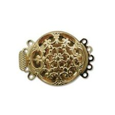 Five Strand Gold Tone Filigree Push Pull Box Clasp - Multi-Strand Clasp