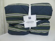 POTTERY BARN TEEN ETON STRIPE BLUE GREEN COMFORTER FULL/QUEEN NEW