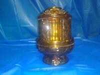 Vtg Indiana Glass Stars and Bars Amber 2 pc Fairy Lamp Candleholder Flaw 2 chips
