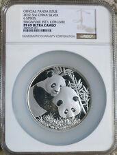 2012 China 5 oz. Silver Panda Singapore Coin Fair NGC PF69 Ultra Cameo  6-Spikes