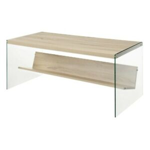 Convenience Concepts SoHo Coffee Table, Weathered White/Glass - 131557WW