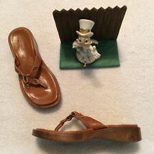 Womens J CREW Slip in Sandals Flip Flops Brown Wooden Heel.. New Display 7