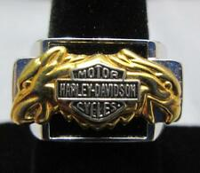Sterling Silver Men's Harley Davidson Motor Cycles Ring Size 8.75 Unisex Onyx