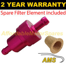 RED 6mm & SPARE ELEMENT METAL UNIVERSAL IN LINE FUEL FILTER ANODISED ALUMINIUM