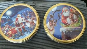 2 SANTA TIN'S WITH DANISH BUTTER COOKIES, CHRISTMAS GIFT