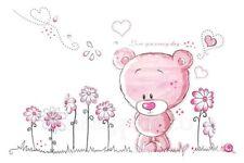 Pink Teddy Bear Wall Decal Flowers 3D Stickers Mural Child's Bedroom Nursery