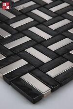 Mosaico de Vidrio azulejos acero inox Negro Plata 1m ²