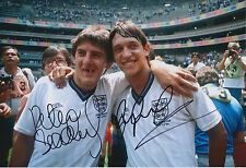 Peter BEARDSLEY & Gary LINEKER Signed Autograph Photo AFTAL COA England Football