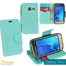 Aqua CL Wallet Flip Card Slot Case Cover For Samsung  Galaxy J1 mini J 105