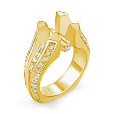 1.10Ct Round Diamond Semi Mount G VS2 Engagement Ring 14k Gold Yellow Accents