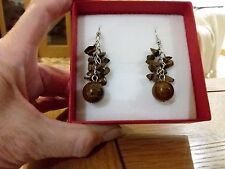 Brand new Tibetan silver dangling earrings with lots real tigers eye stones