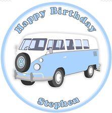 "VW Camper Van Edible Icing, Birthday Cake Topper  7.5"" Round"