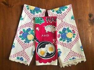 Lot of Three Vintage Kitchen Towels- Fruits, Ham And Eggs