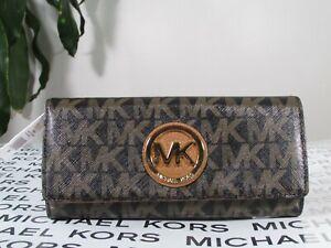 NWT Michael Kors Coated Canvas Fulton Flap Continental Wallet Black / Dark Brown