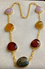 Handmade Matte Gold Polished Multi Stone Necklace N4-022-7