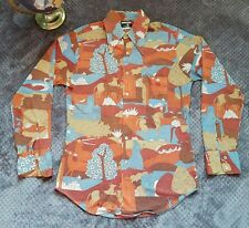 Killer 70s mens Vintage Bonds Knit Large Disco Party Shirt Wild Greek print