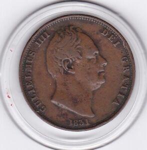 1831    King   William   IIII    Half  Penny   Copper  Coin