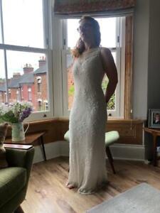 Vintage ART DECO beaded Wedding Dress Size 8/10. cowl back
