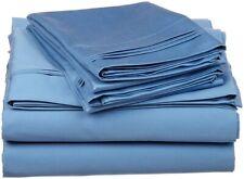 4-pc Cal King 100% Egyptian Cotton Medium Blue Sheet Set Triple Pleated Hem