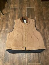 Vintage Carhartt Vest Quilted Lined USA Union Made XXL M Brown Canvas