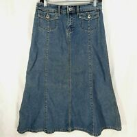 Christopher Banks Denim Maxi Skirt Women's Size 4 Medium Wash Flare Blue