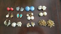 Vintage Colorful Bead Cluster Clip-On Earring Sets   Lot of 12 Pairs
