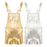 Adult Shiny Metallic Dungarees Ladies Mens Shorts Festival Fancy Dress Club wear