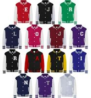 Personalised Initials Varsity Jacket XS-2XL Baseball College Customised Printed