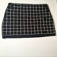 Zara Trafaluc Pearl Beaded Windowpane Grid Skirt Black Mini Skirt Size M