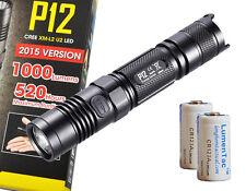 Nitecore 2015 P12 1000 Lumens Compact LED Tactical Flashlight w/ Clip and Batt.