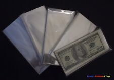 100 Paper money / Banknotes Transparent Protective Soft Sleeves - 9cm x 19cm