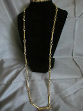 Vintage Goldtone Necklace BAMBOO STYLE  LARGE Links Slip OVER HEAD NECKLACE