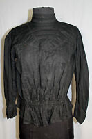 """RARE  FRENCH EDWARDIAN BLACK COTTON  FITTED 28"""" WAIST BLOUSE SIZE 38-40"""