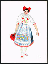 1930s Vintage Hungarian Women's Fashion Hungary Clothing Pochoir Art Print